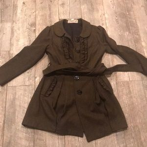 Army green lined pea coat.